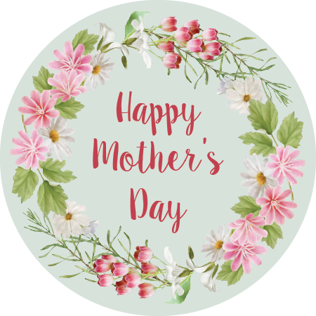 Mother's Day Napkin Knot - Pink Flower Border (Qty:10)