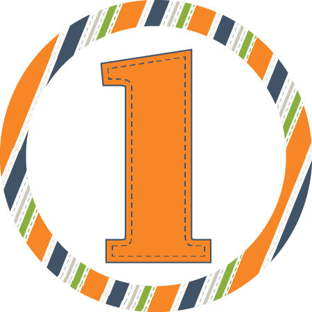 1st Birthday Orange Stripes Napkin Knot (Qty:10)