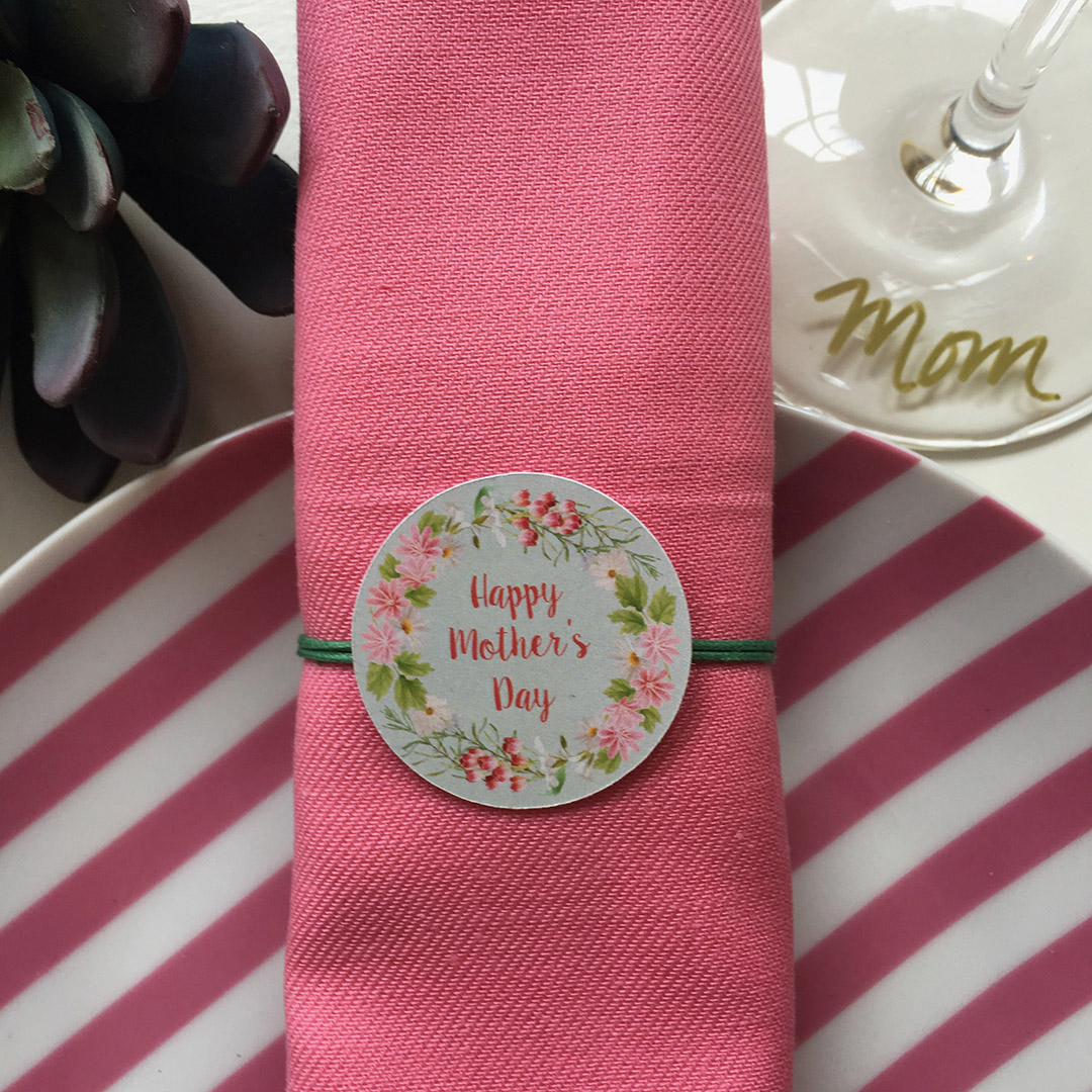 Mother's Day Pink Border Napkin Knot