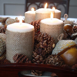 DIY Burlap-Wrapped Candles