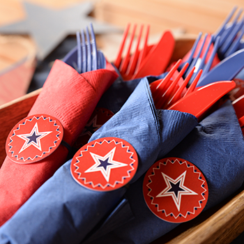 Patriotic Napkin Rings in Bowl